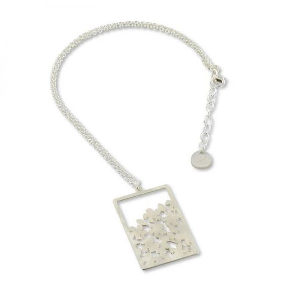 Rectangle with Flowers Short Pendant
