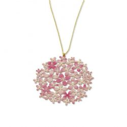 "Necklace Long Pendant Pink \""Hortensia\\"" Gold"