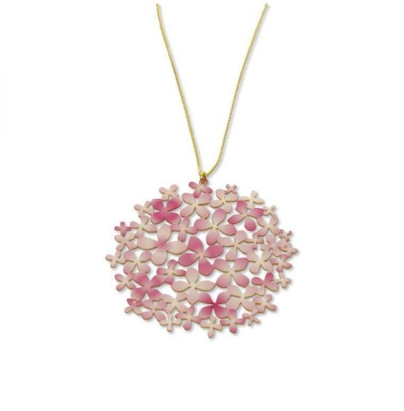 """Necklace Long Pendant Pink \\""""Hortensia\\"""" Gold"""