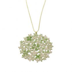 "Necklace Green \""Hortensia\\"" Long Pendant Gold"