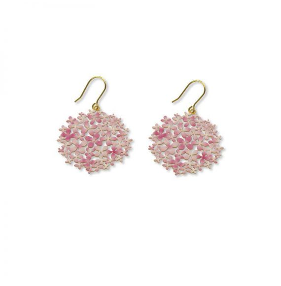 Earrings Pink Hortensia Small Earring Gold