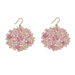 "Earrings Earrings Pink \""Hortensia\\"" Gold"