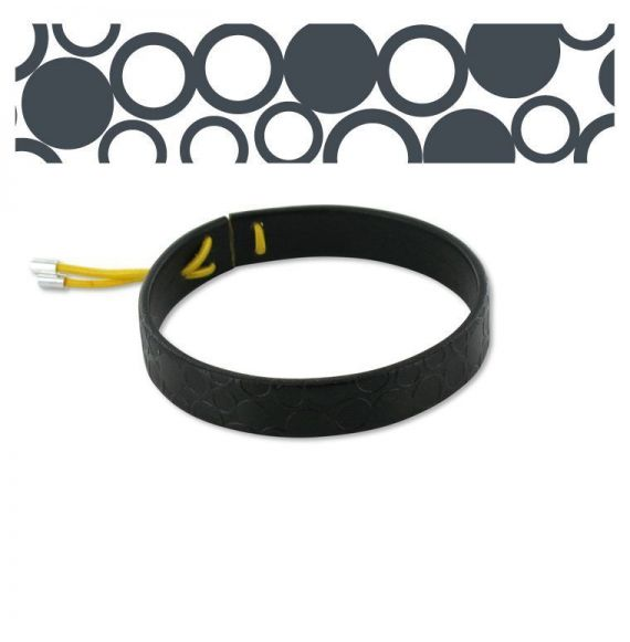 "Leather bracelets Leather Bracelet \""Círculos\\"" Black"