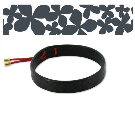 Hortensia Black Leather Bracelet