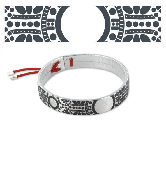 "Leather bracelets \""Barroco\\""Leather Bracelet Silver"