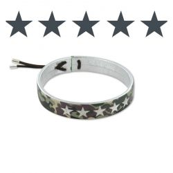 Camouflage Leather Bracelet Silver-Green