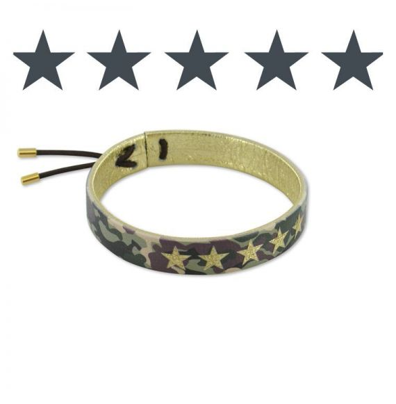 Leather bracelets Gold Brown Camouflage Leather Bracelet