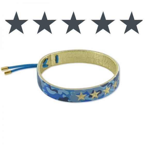 Leather bracelets Gold Blue Camouflage Leather Bracelet