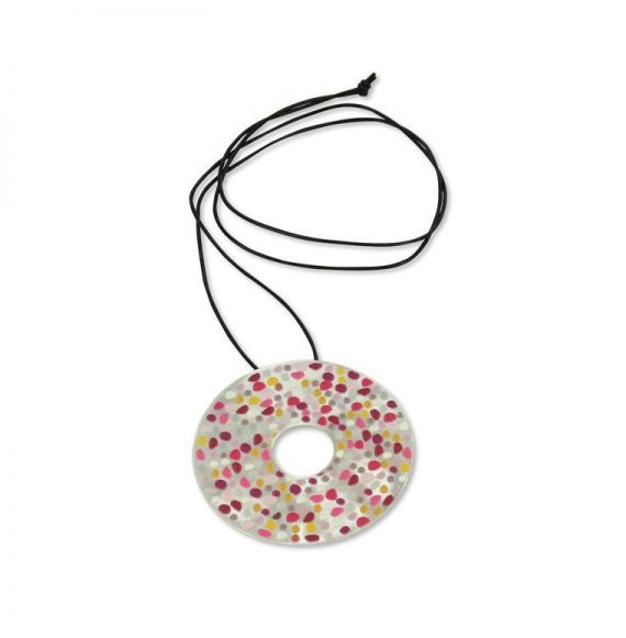 Necklace Red Stones Long Pendant Silver