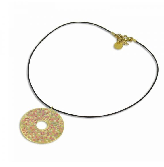 "Necklace \""Piedras Rosas\\"" Short Pendant Gold"