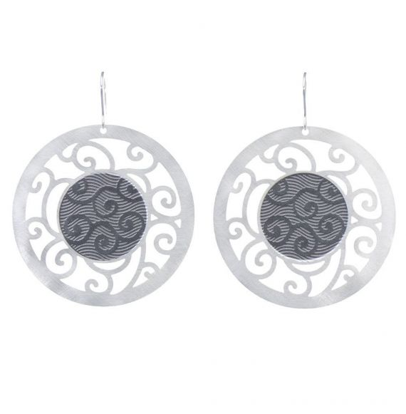 Earrings Bucle Gray Silver Earrings
