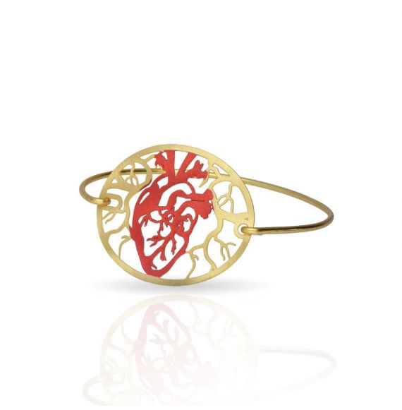 Cool Designs Colection Golden Click Brazelet Heart