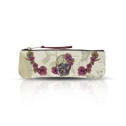 Pencil / Glasses case Skull with Flowers