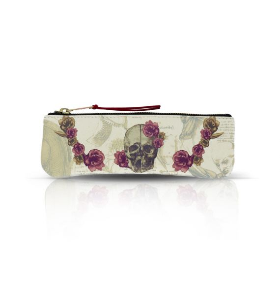 Cool Designs Colection Pencil / Glasses case Skull with Flowers
