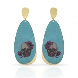 Cool Designs Colection Calavera con Flores Gold Earring