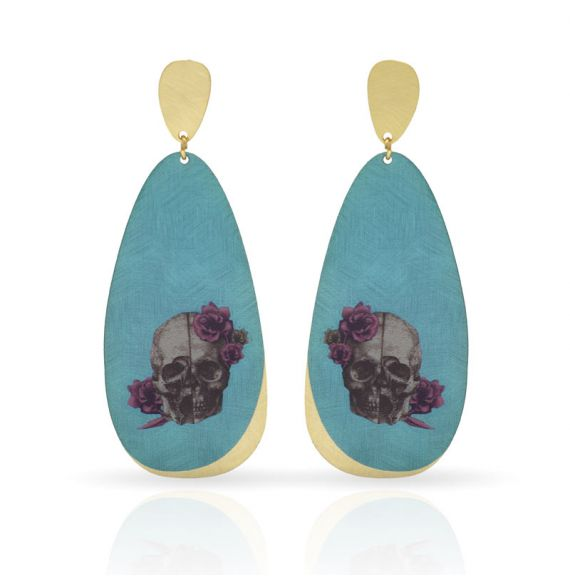 Cool Designs Colection Calavera con Flores Earring Gold