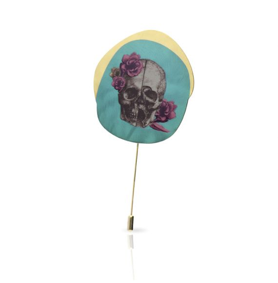 "Cool Designs Colection Brooch \""Calavera con Flores\\"" Gold"