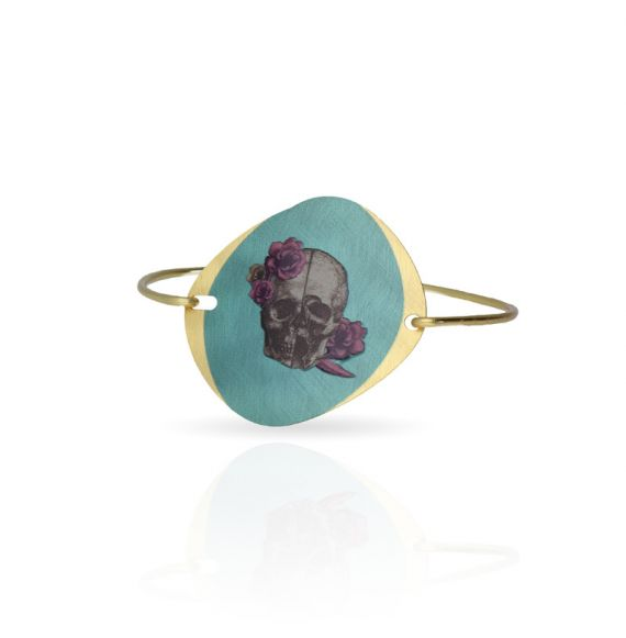"Cool Designs Colection Clic Bracelet \""Calavera con Flores\\"" Gold"