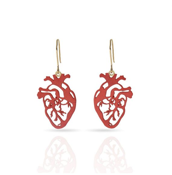 Cool Designs Colection Heart Gold Earring