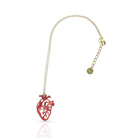 Cool Designs Colection Heart Gold Short Pendant
