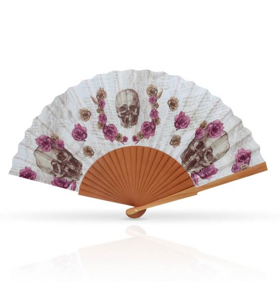 Cool Designs Colection Fan Skull with Flowers