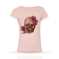 Cool Designs Colection T-Shirt Skull with Flowers | Woman