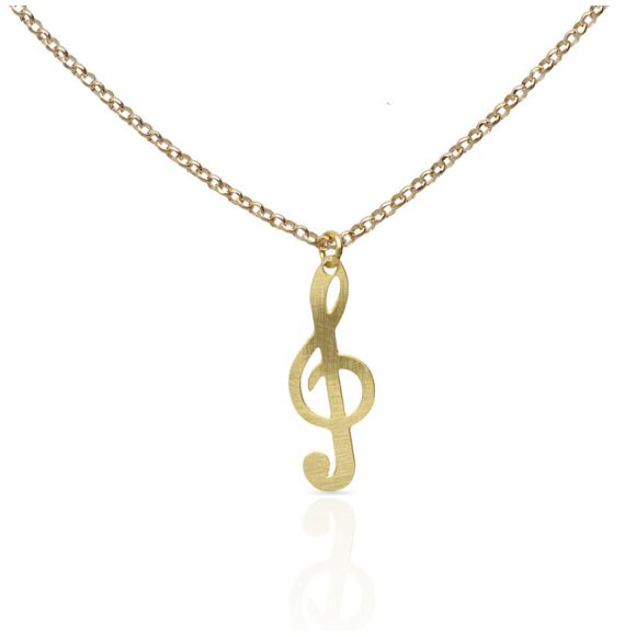 Necklace Clave de Sol Gold Short Pendant