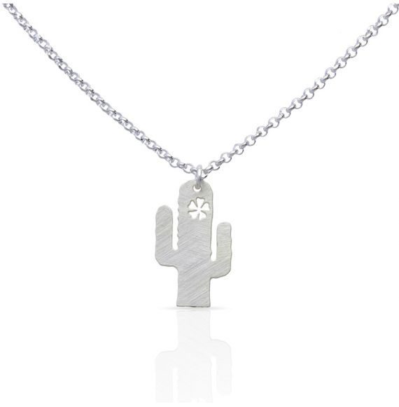 Necklace Cactus Short Pendant Silver