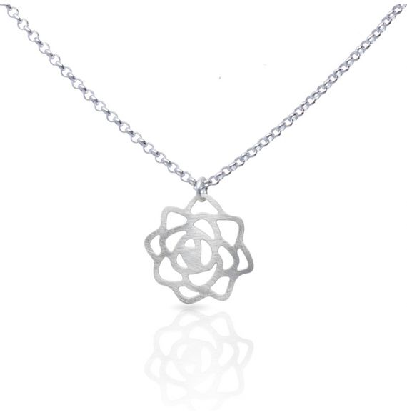 Necklace Rose Short Pendant Silver