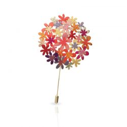 Orange Bouquet Pin Gold