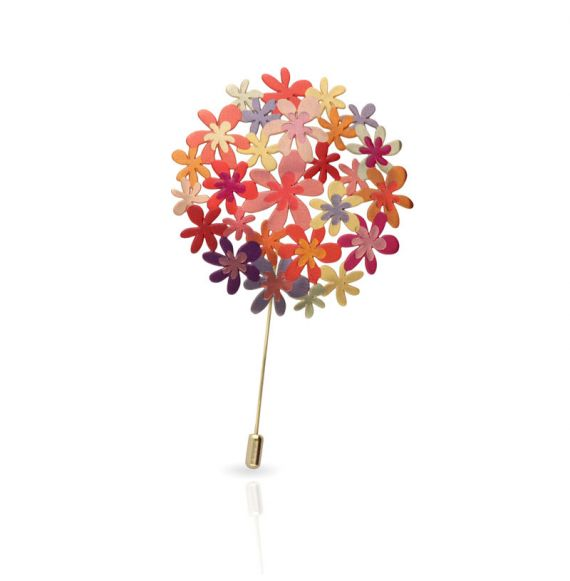 Orange Bouquet Gold Pin