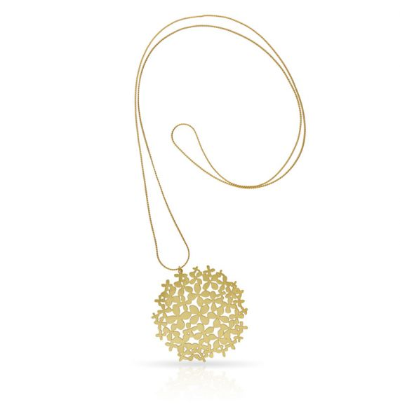 "Necklace Long Pendant \""Hortensia\\"" Gold"