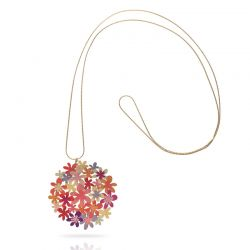 Orange Bouquet Gold Pendant