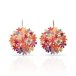 Orange Bouquet Earrings Gold