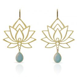 Turquoise Lotus Flower Earring Gold