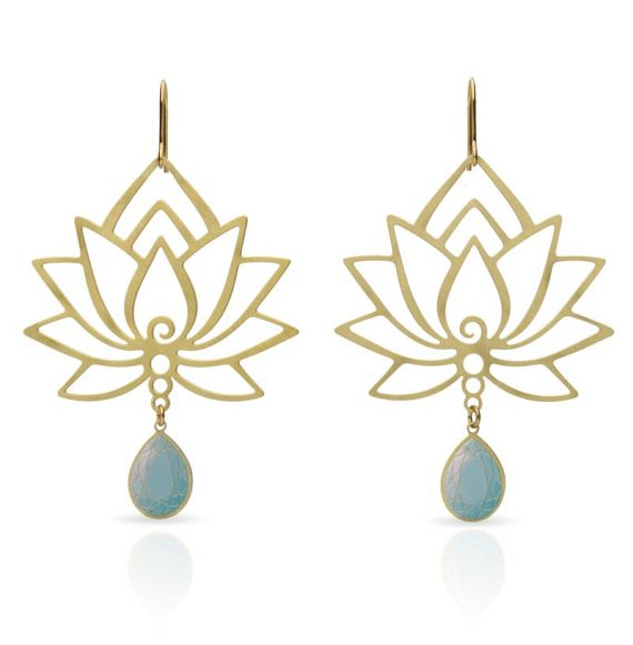 Earrings Flor de Loto Turquoise Earring Gold