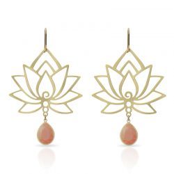 Earrings Amber Lotus Flower Earring Gold
