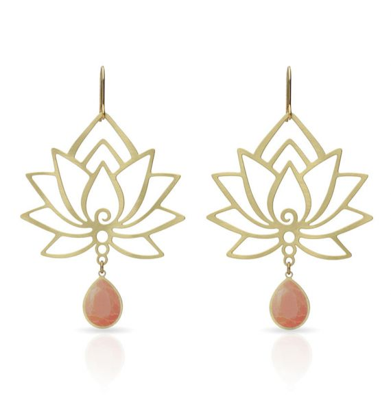 Earrings Flor de Loto Amber Earring Gold