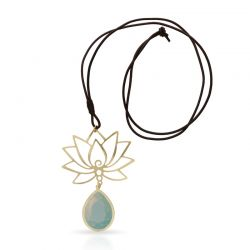 Necklace Turquoise Lotus Flower Long Pendant Gold