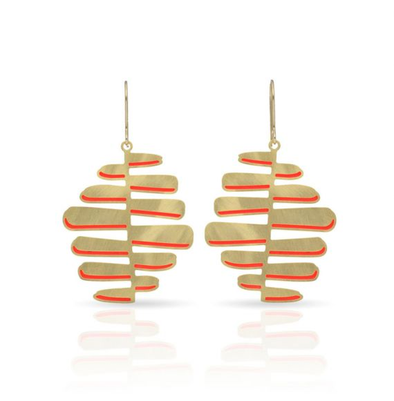 Earrings Nilo Earring Gold-Red