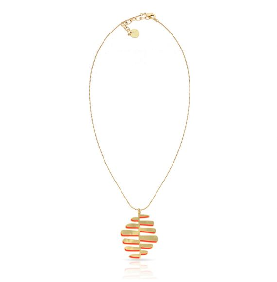 Necklace Nilo Short Pendant Gold-Red
