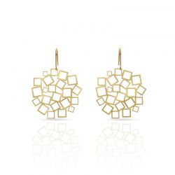 "Earrings Earrings \""Cuadrado al Cuadrado\\"" Gold"