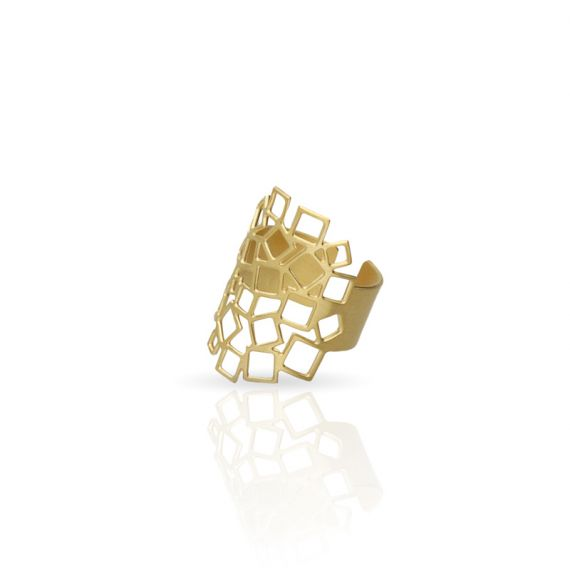 Rings Squared Square 1 Ring Gold
