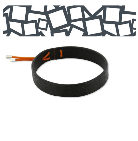 "Leather Bracelet \""Cuadrado al Cuadrado\\"" Black"