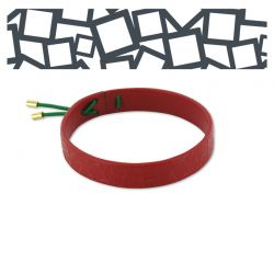 "Leather Bracelet \""Cuadrado al Cuadrado\\"" Red"