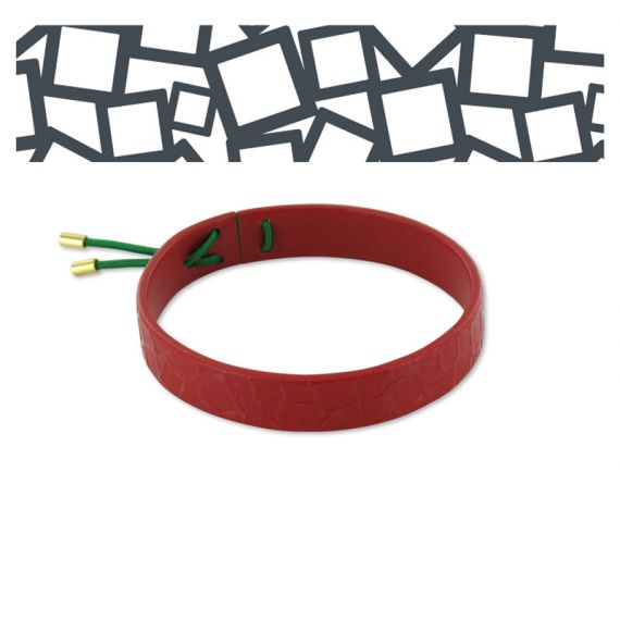 Leather bracelets Squared Square Leather Bracelet Red