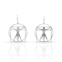 Cool Designs Colection Silver Earrings The Vitruvio Man