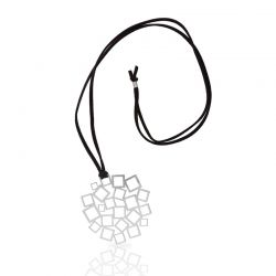 "Necklace \""Cuadrado al Cuadrado\\"" Long Pendant Silver"