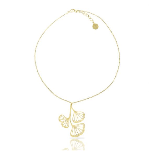 Necklace Ginkgo Biloba Short Pendant Gold