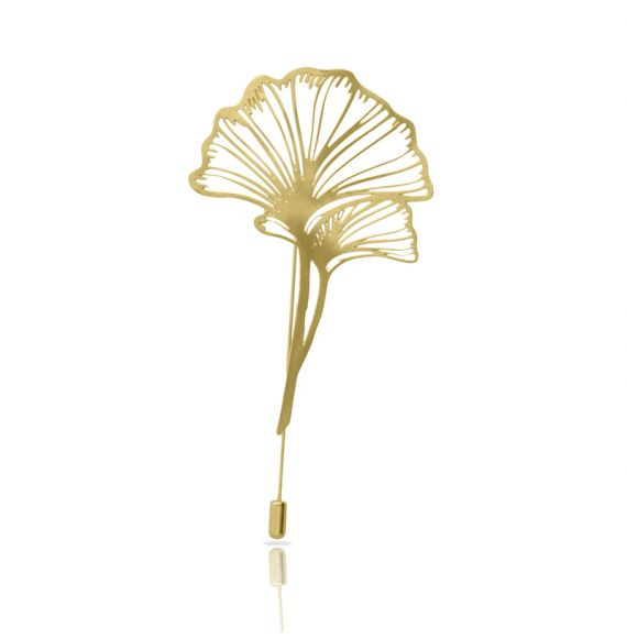 Brooches Ginkgo Biloba Gold Brooch